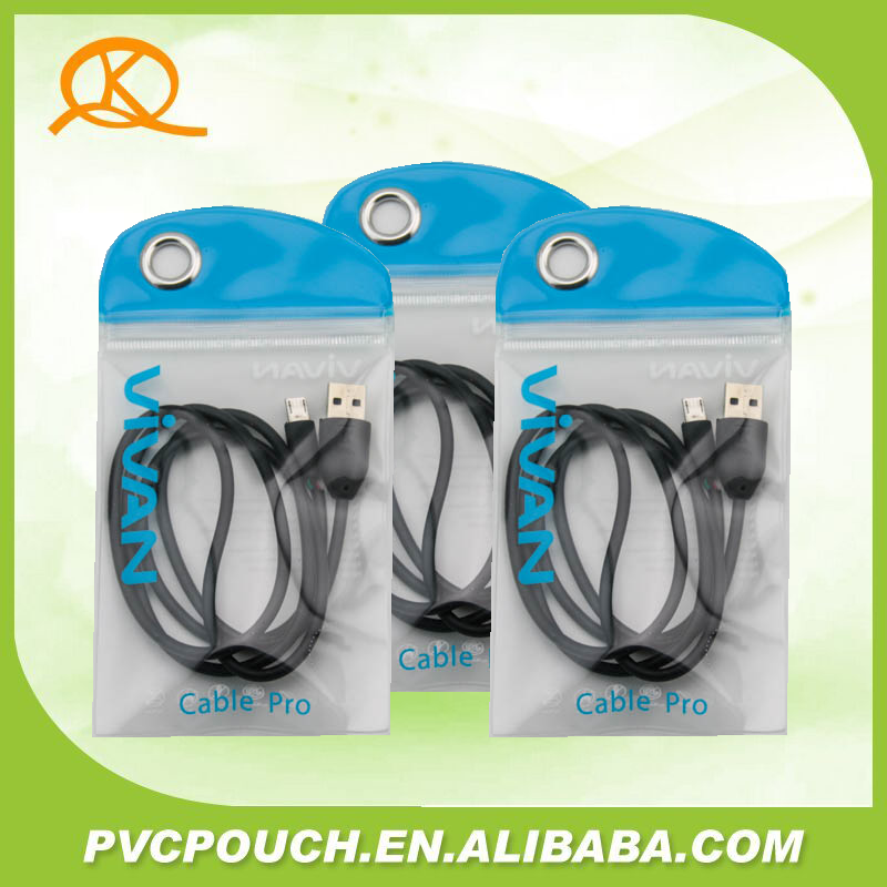 Hot sale in china PVC transparant mobile case bag with zipper and hanger hole