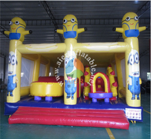 2016 Best 0.55mm PVC tarpaulin Material and Inflatable Obstacle Course Type Minions inflatable obstacle course for kids games