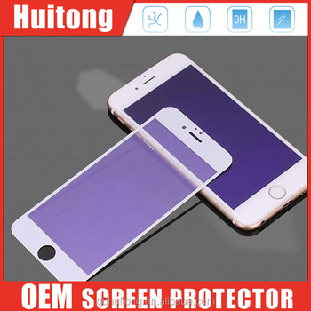 Anti-blue light screen protectors for iPhone6, 2.5D curved edge, 9H 0.33mm HD clear tempered glass