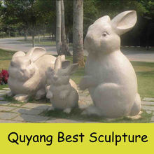 Life Size Lovely Stone Rabbit Statues for Garden Decoration