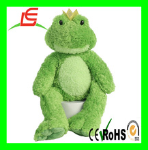 wholesale plush stuffed green frog toys with crown
