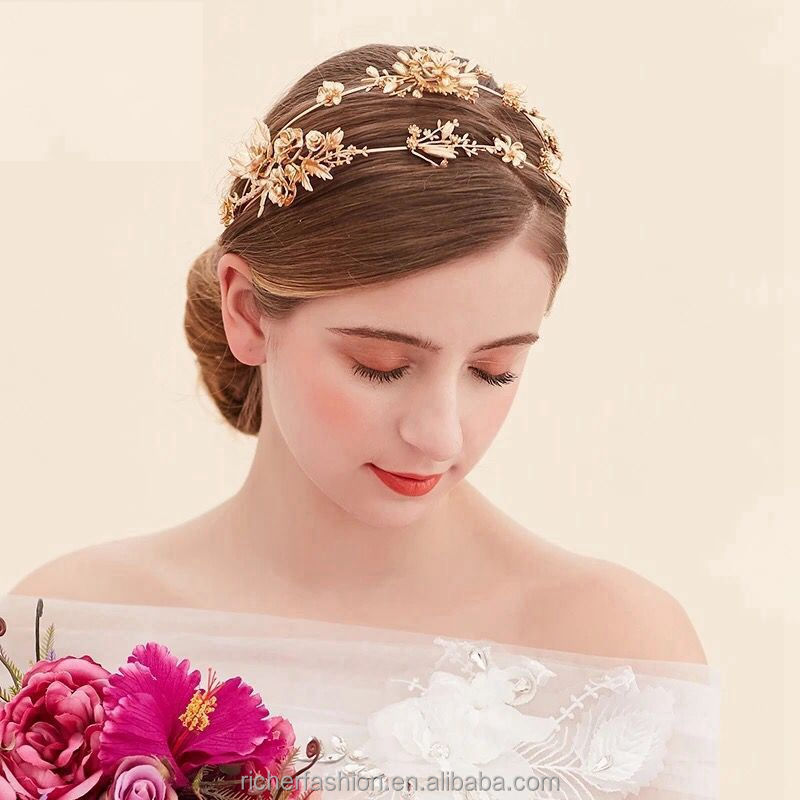 vintage gold baroque pearl headbands wedding hair accessories bridal jewelry pearl headpieces tiara