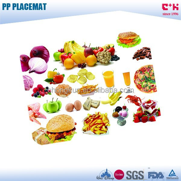 Home kitchen use decoration fruits and vegetables mats 3D PP frosted placemat table mat
