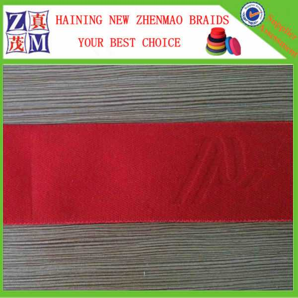 2016 new design red embossed logo elastic webbing for dress