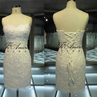 High Quality Short Mini Tight Lace Sweetheart Wedding Dresses/ embroidery designs for wedding dress