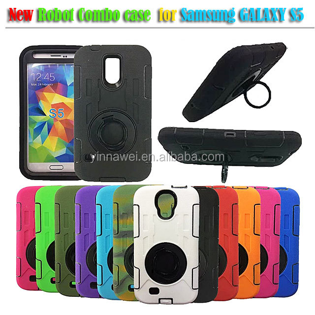 360 degree rotation 3 in 1 Robot bracket Combo case for Samsung Galaxy S5 i9600