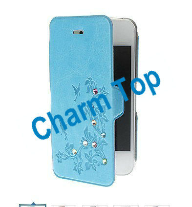 Hot selling!!Luxury Super Slim Leather Diamond Case for iPhone 5