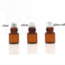 Wholesale Empty Custom printed 1ml mini amber clear glass deodorant roll on bottle with metal plastic roller ball