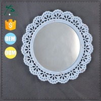 Small Metal Round Wall Decors Mirror in Blue