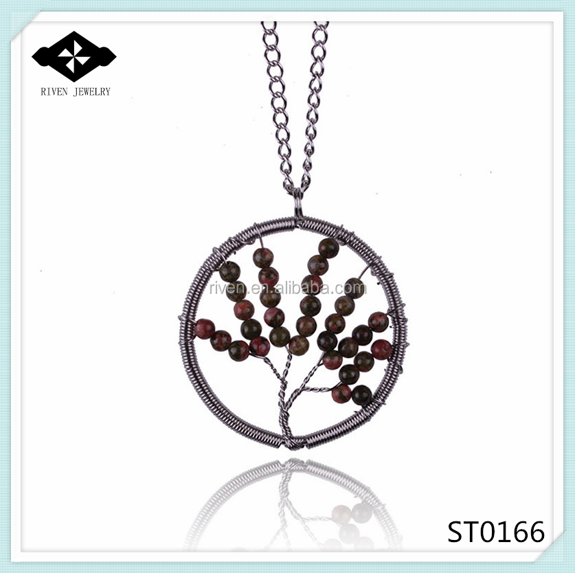 ST0166 Hot Sale Natural Stone Seed Bead Necklace With Tree Pendant For Womens.jpg