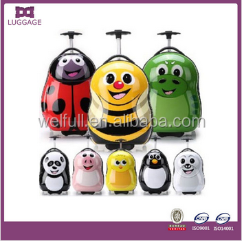2015 new promotion animal cute kids luggage trolley for kids, 4 wheels hard plastic kids luggage