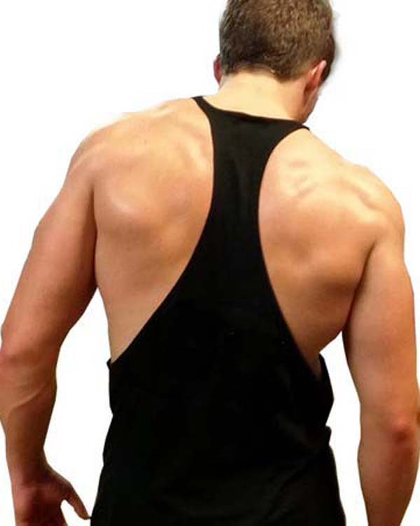 Sports Men's curved hem Y back Gym sports Singlets tank top