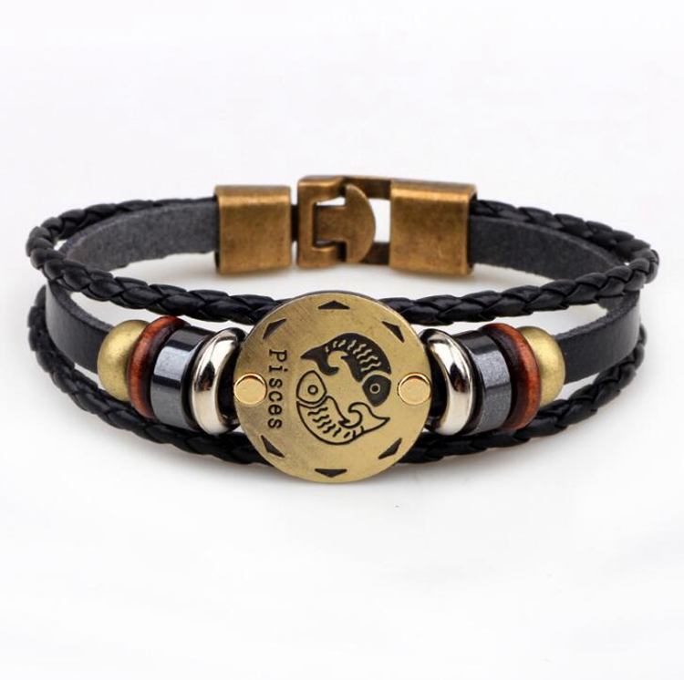 Wholesale Braided Lucky Women Multilayer Zodiac Wood Beaded Leather Bracelet