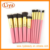 10 PC pink oem make up brush sets with soft nylon hair for face makeup