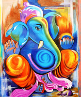 Factory Price High Quality Handmade Pictures Oil Painting of Ganesha canvas oil paintings ganesh wall art ganesh canvas painting