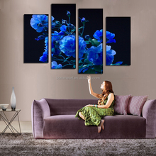 2016 3d flower modern oil painting on canvas 4 panels China home decor wholesales oil painting wall art