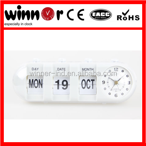 Plastic table alarm clock with month day and date flip clock calendar clock