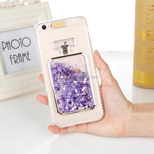For iphone 5 5s SE 6 6s plus 7 7plus Perfume bottle quicksand liquid glitter phone case call incoming led flash light back case