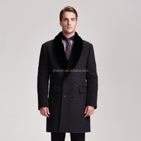 Classic Italian wool cashmere topcoat with detachable fur collar
