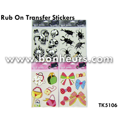 New Novelty Toy Deco Colorful Transfer Kids Rub On Stickers