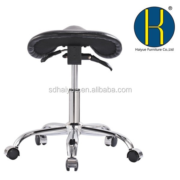 HY3007 WorkSmart Saddle Stool with Tilting Function Mechanism, Seating Backless Office Stool with Saddle Seat Angle Adjustment