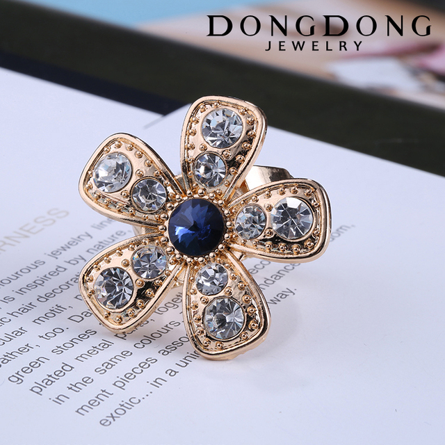 DD-R046 Fashion modern style gold plated inlaid rhinestone sapphire ring jewelry