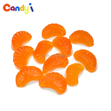 Sour sweet taste fruit tangerine gummy slice orange shaped jelly candy