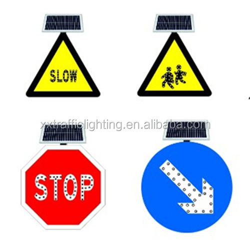 Hunan best quality solar led luminous triangle road stop traffic warning sign