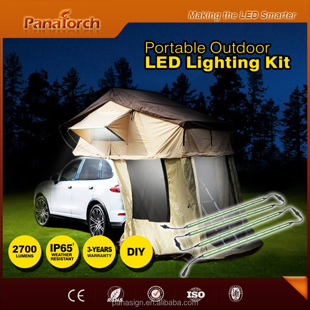 PanaTorch IP65 Led Camping Strip Light Kit PS-C5530A green/silver/golden aluminum profile For roof top tent