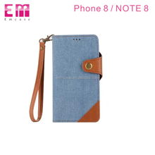 Cowboy jeans wallet cards slots 2 in 1 flip cell phone case for Samsung galaxy note 8