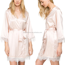 Satin bridal robe with long sleeve elegant western bathrobe fashion mini lace wedding nightgown for women