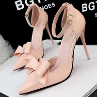 SAA4915 Korean sandals sweet bow pointy toe ladies shoes with thin heels 2016
