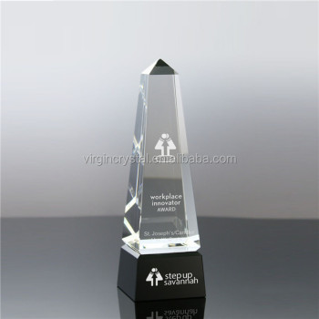 Popular pegoda replica design trophy awards crystal with black base