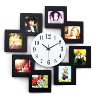 export home decor fashionable fancy design acrylic wall clock with multi photo frame