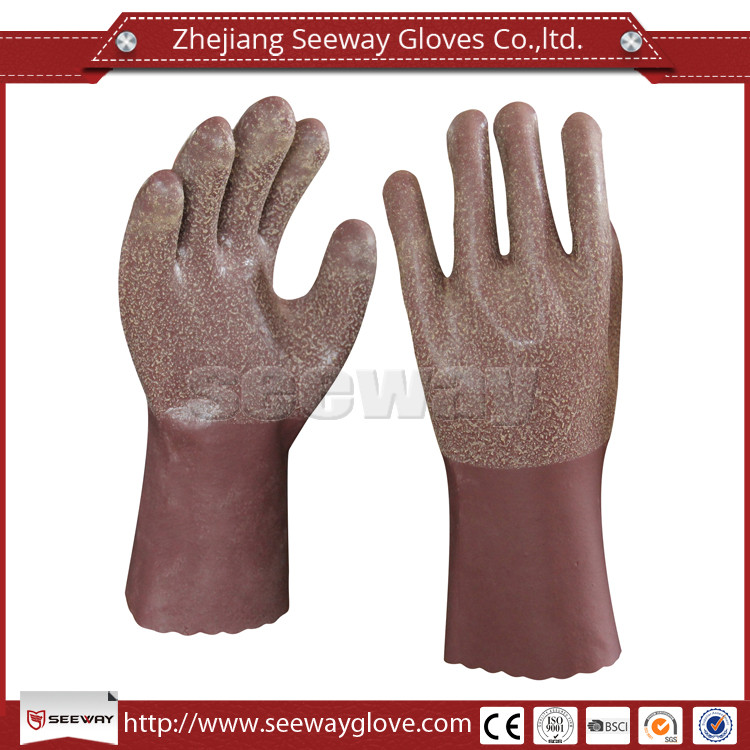 Seeway Long Cotton Lined Brown Neoprene Gloves Latex Household Glove For Kitchen Cleaning And Laundry