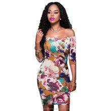 monroo Sexy Off Shoulder Summer Dress 2017 Party Short Dresses Women Flower Print Vintage Package Hip Dress Vestidos Clothes