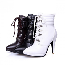 DL20222B large size 10cm high heel woman boot 2017 women shoes martin leather ankle boots with laces