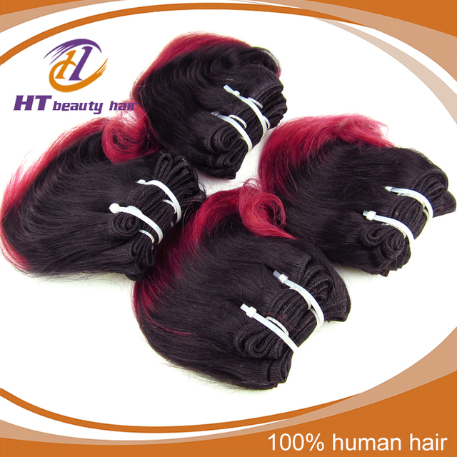 5A peruvian Virgin Hair 6pcs Short Wavy Weave color rose red Two Tone Ombre Human Hair Extensions