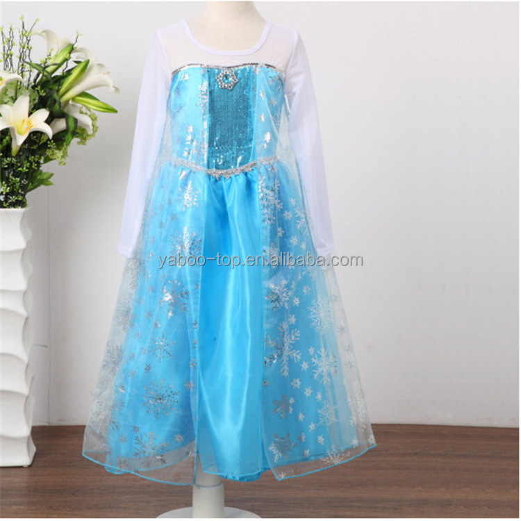 Princess Elsa Dress with Long Sleeve Fancy Costume Anna Girls Party Kids Cosplay Halloween Dress