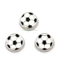 5MM-8MM Sports Football With Black And White Enamel Floating Charms For Memory Locket Wholesales