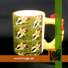 3D sublimation coated animal ceramic mug with handle chook/chicken