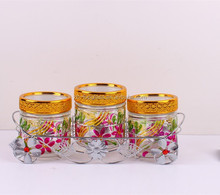 3pcs glass canister set with electroplating rack