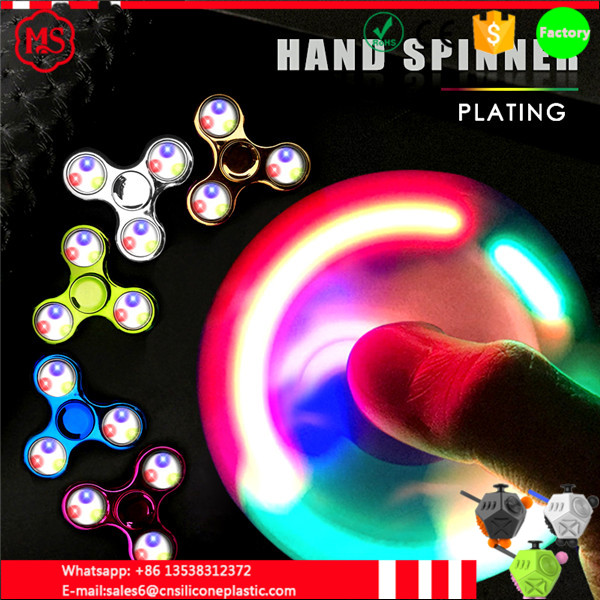 2017 SPIN fAST Rainbow LED Light Change Hand Spinner,Tri Fidget EDC Toy for ADHD Autism