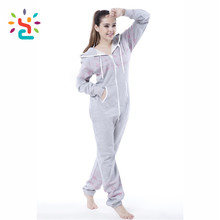 Sexy print sweat suits for adult romper women sculptured velvet onesie full face zip up plain lady girls hoodie rompers