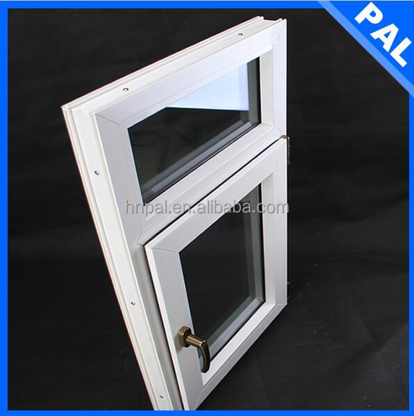 euro standard wood color casement UPVC PVC double glazing air gap with grill design in America