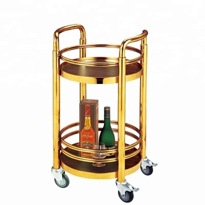 Hotel buffet trolley 3 tier stainless steel luxury gold bar wooden service food tea wine cart with wheels