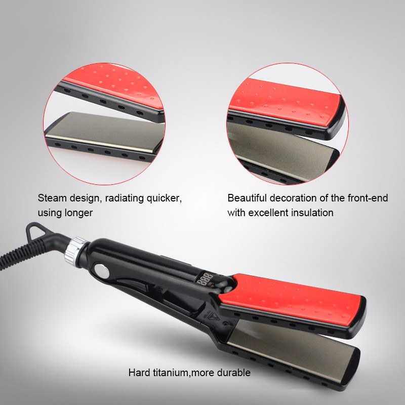 2018 hot sell 450 degrees custom ceramic electric professional steam hair straightener flat iron