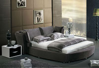 2014 Modern design round queen size fabric bed was made from solid wood frame and flannelette for the bedroom furniture