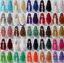 80Cm Harajuku Anime Cosplay Wigs Young Long Curl Synthetic Hair Wig Bangs Blonde Costume Party Wigs For Women 29 Colors