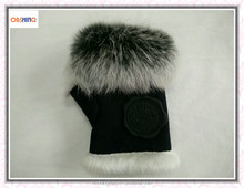 Woman Fingerless Rabbit Fur Hands Gloves for Winter OEM